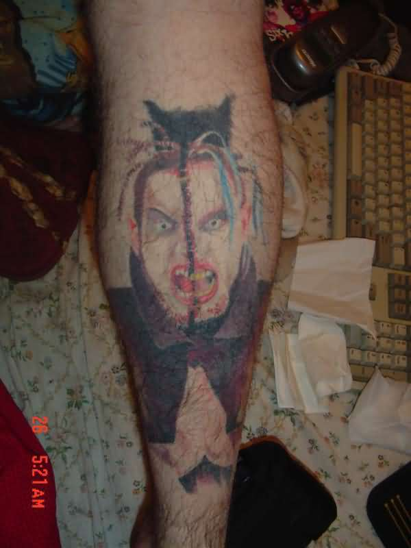 Fantastic Scary Icp Tattoo On Leg