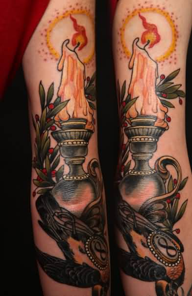 Fantastic Traditional Candle Lamp Tattoo On Full Sleeve