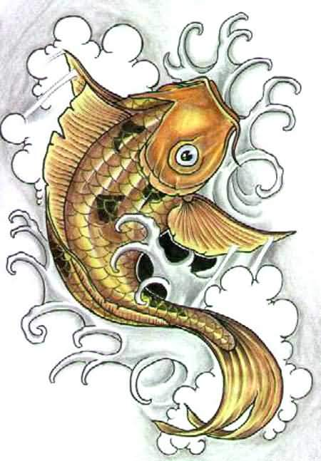 Golden Color Koi Fish Tattoo Design