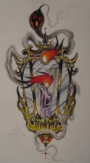 Great Candle Lamp Tattoo Design