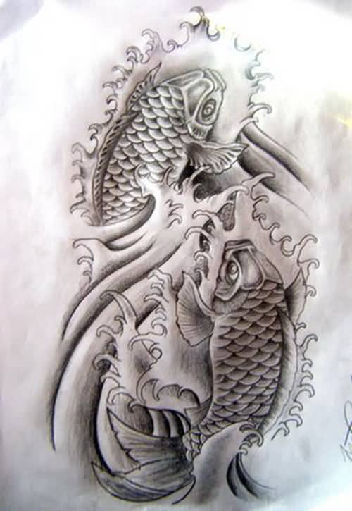 Grey Ink Use Koi Fish Awesome Amazing Japanese Tattoo Design