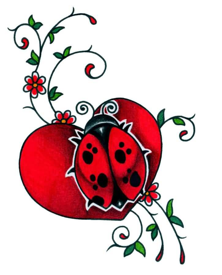 Heart Ladybug Tattoo Design Wonderful