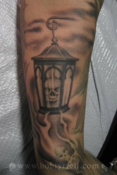 Incredible Skull Lamp Tattoo Design