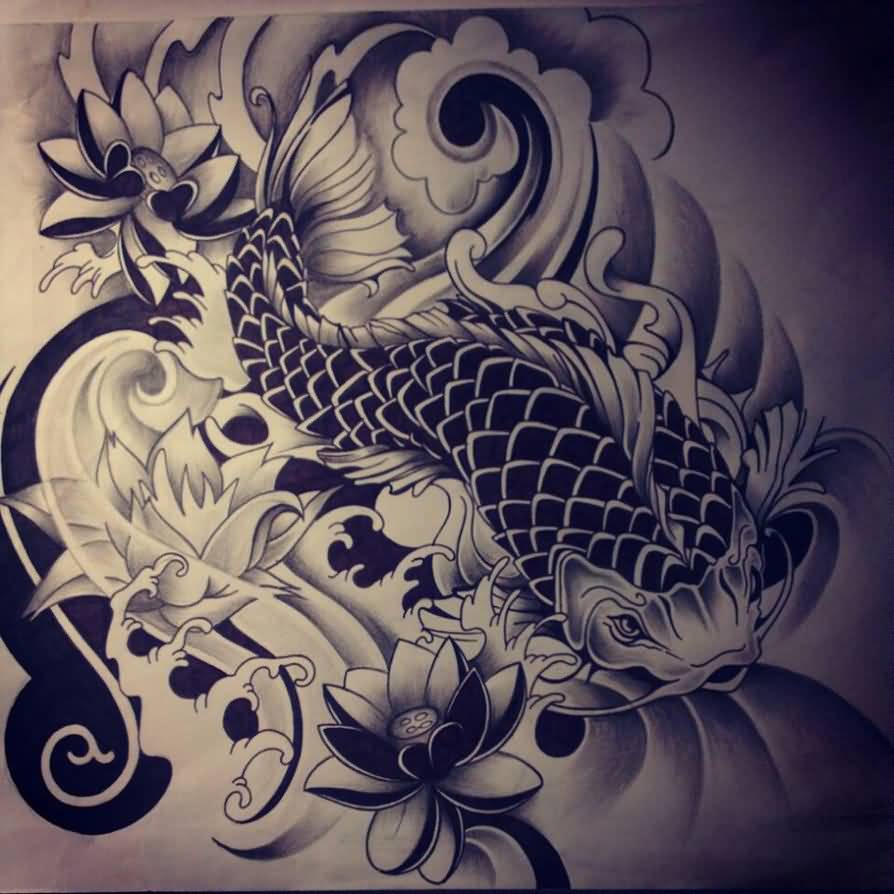 Koi tattoo ideas and koi tattoo designs page 7 for Japanese koi fish drawing