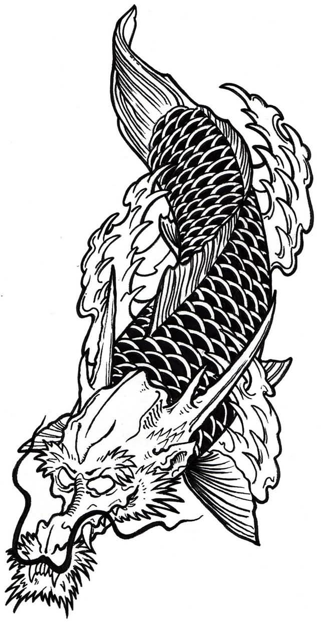 Fantastic koi fish dragon tattoo deisgn black and white for Black dragon koi