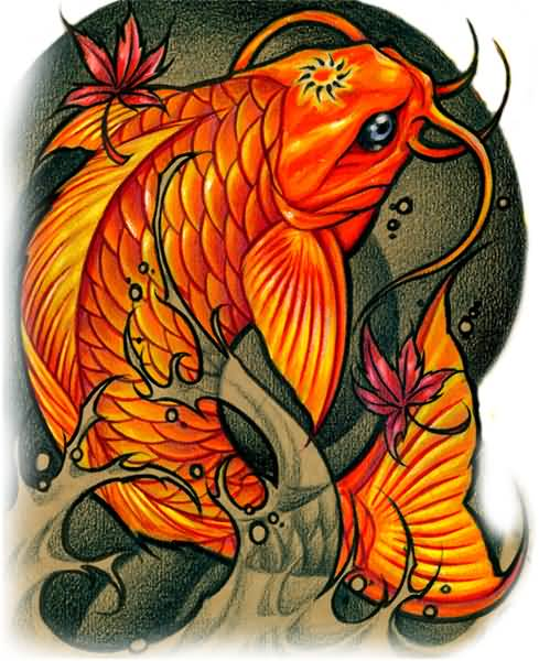 Koi fish tattoo colors design beautiful for Koi fish designs