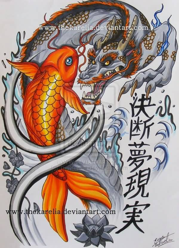 Koi fish dragon tattoo for Black dragon koi