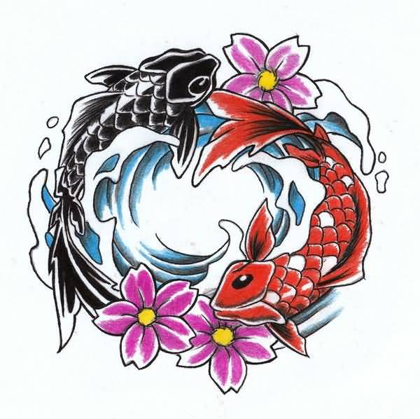 Koi fish yin yang tattoo design beautiful for Koi fish yin yang tattoo