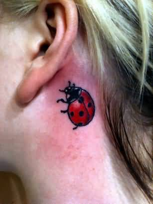Lady Behind Ear Tattoo On Back Beautiful