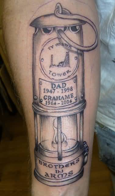 Lamp Tattoo Design On Bicep For Dad