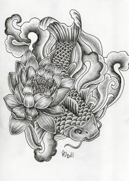 lotus flower with koi fish tattoo design. Black Bedroom Furniture Sets. Home Design Ideas