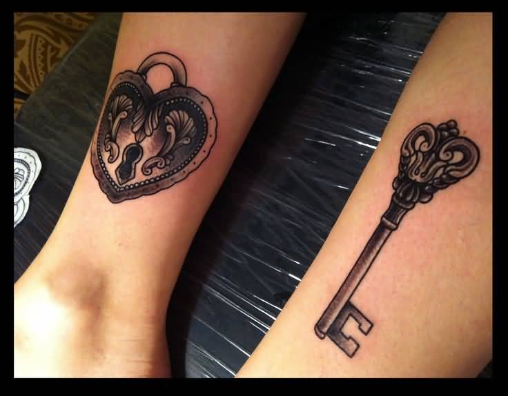 Love Heart Key Tattoo On Wrist