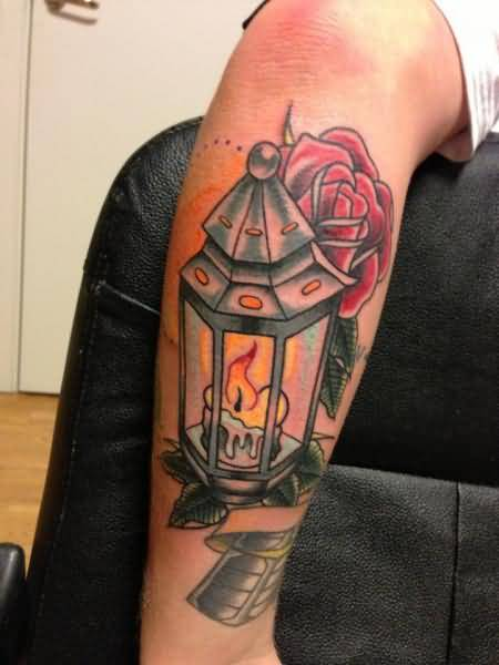 Lovely Candle Tattoo With Rose Fantastic