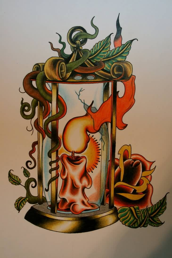 Marvelous Candle Lamp Tattoo Design