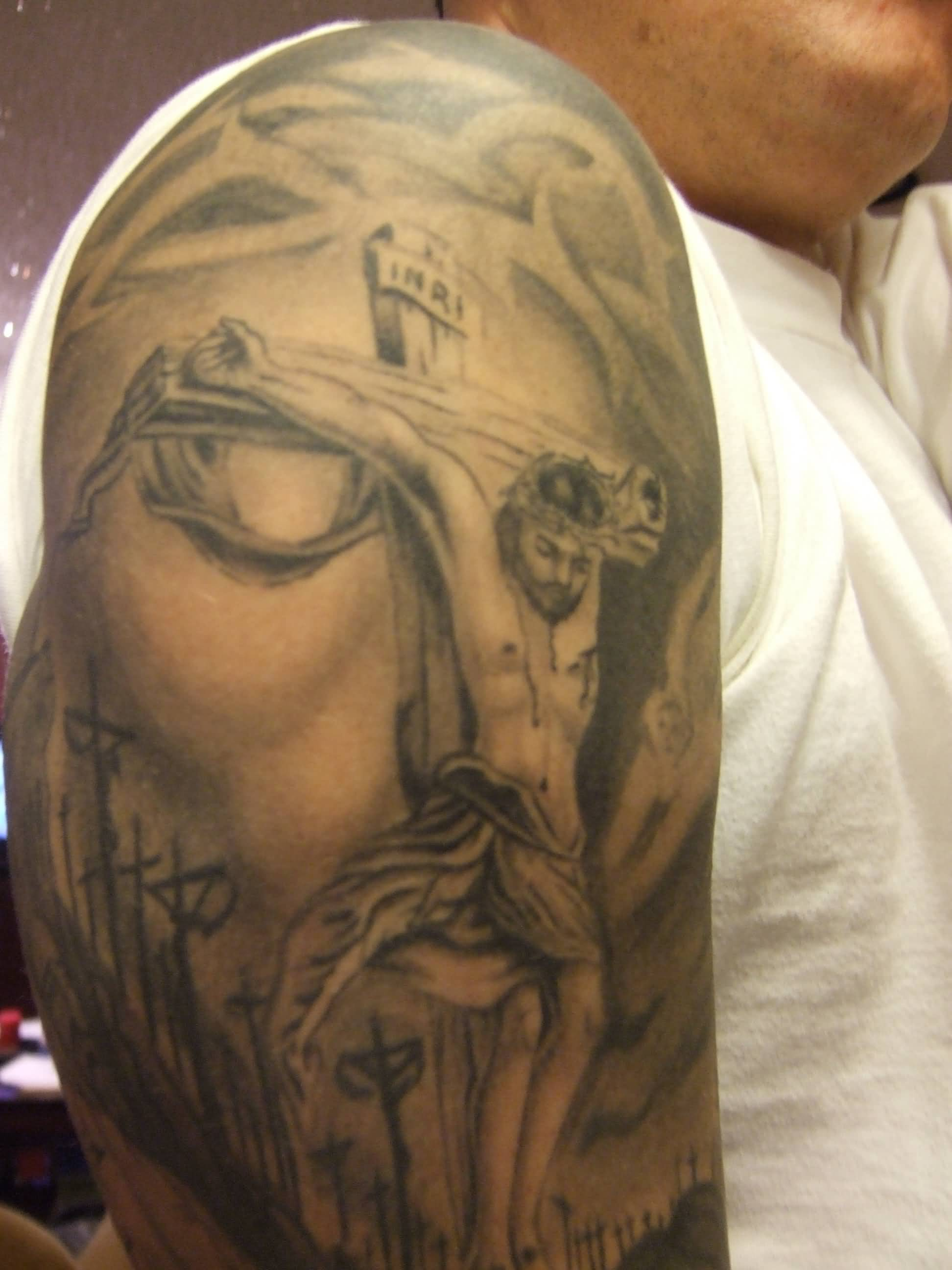 Mavelous Cross Jesus Tattoo Tattoo On Bicep