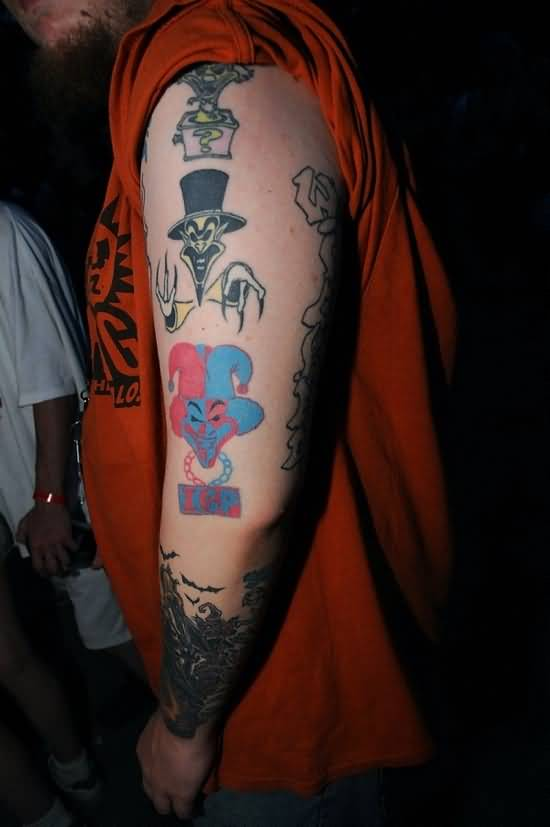 Most Beautiful Icp Joker Tattoo On Half Sleeve