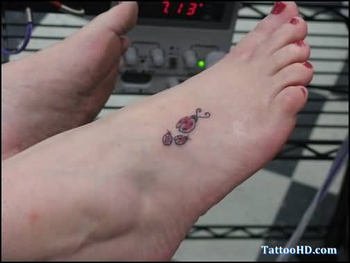 Mother Ladybug With Kids Cute Tattoo On Foot