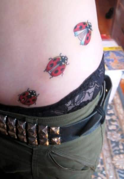 Moving Ladybug Tattoo On Waist Nice