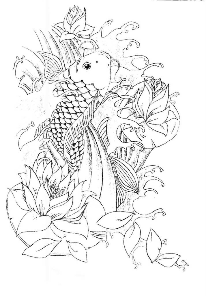 2 koi fish tattoo outline designs the for Black and white coy fish