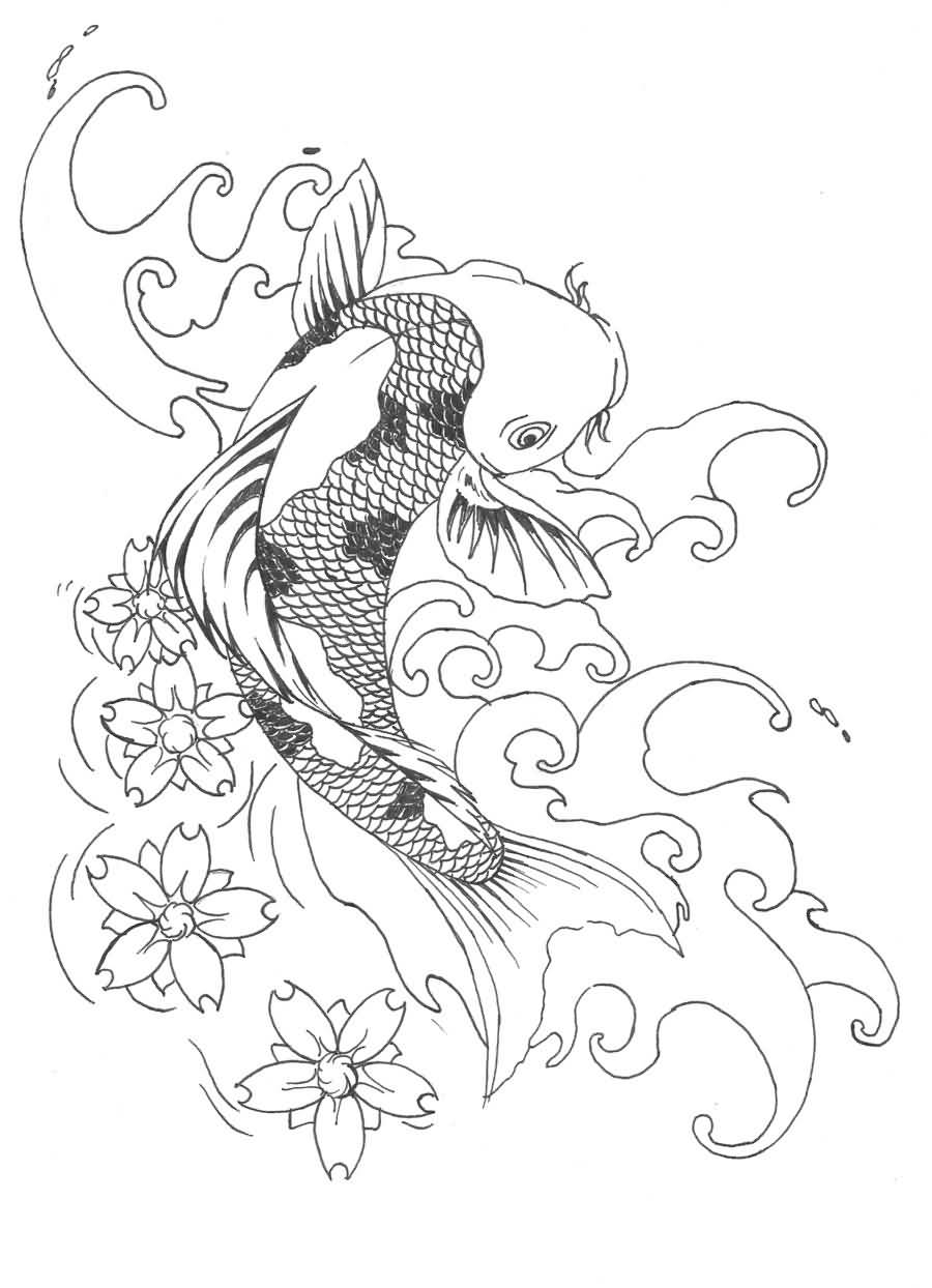 Koi fish drawing best tattoo design tattooshunter nice drawing koi fish tattoo design izmirmasajfo Images