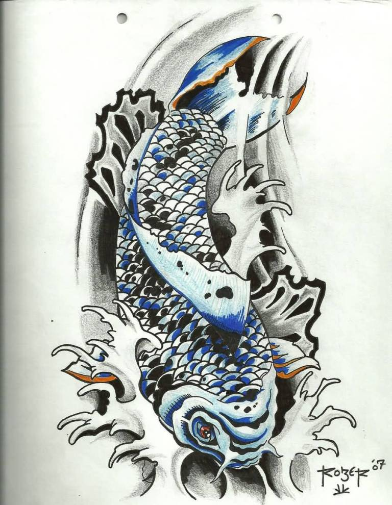 Best one flash koi fish tattoo design for Carpa koi butterfly