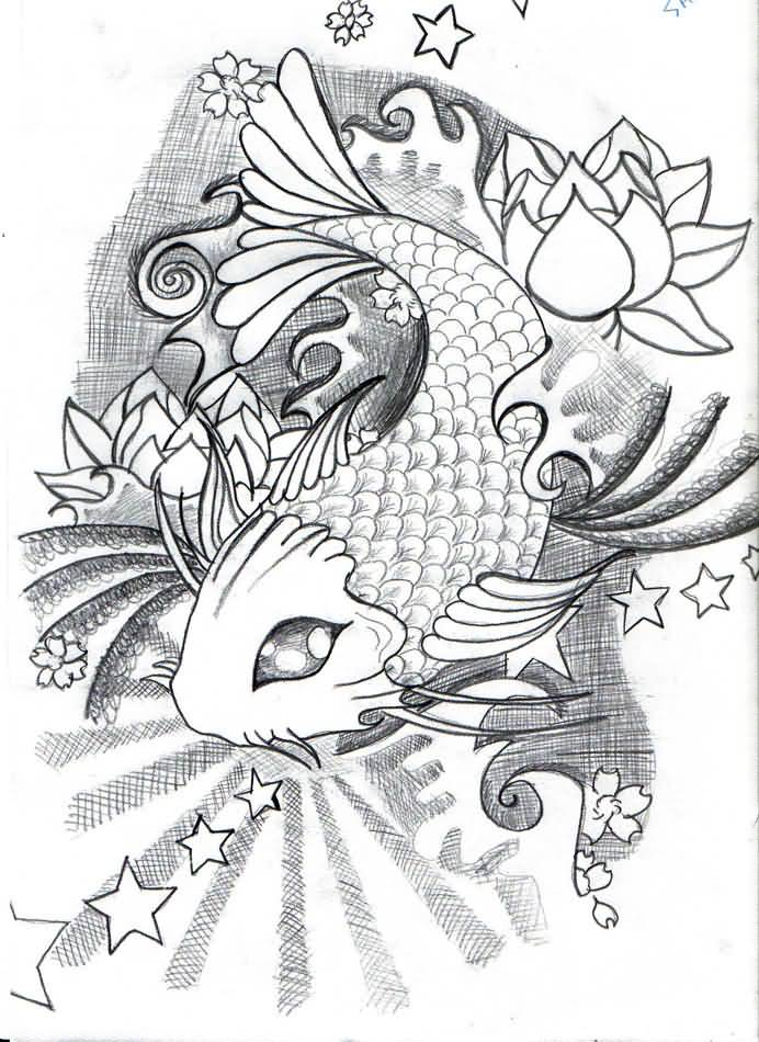 Nice Koi Fish Tattoo Design Draw Tattooshuntercom