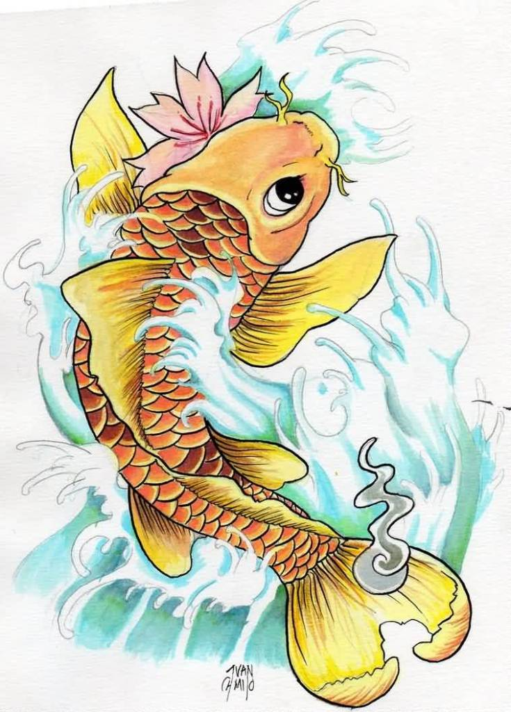Nice One Yellow Water Color Use Tattoo Design