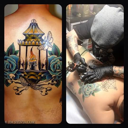 On Back Best Candle Lamp Tattoo Amazing