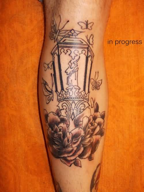 On Calf Wonderful Candle Outline Tattoo Design