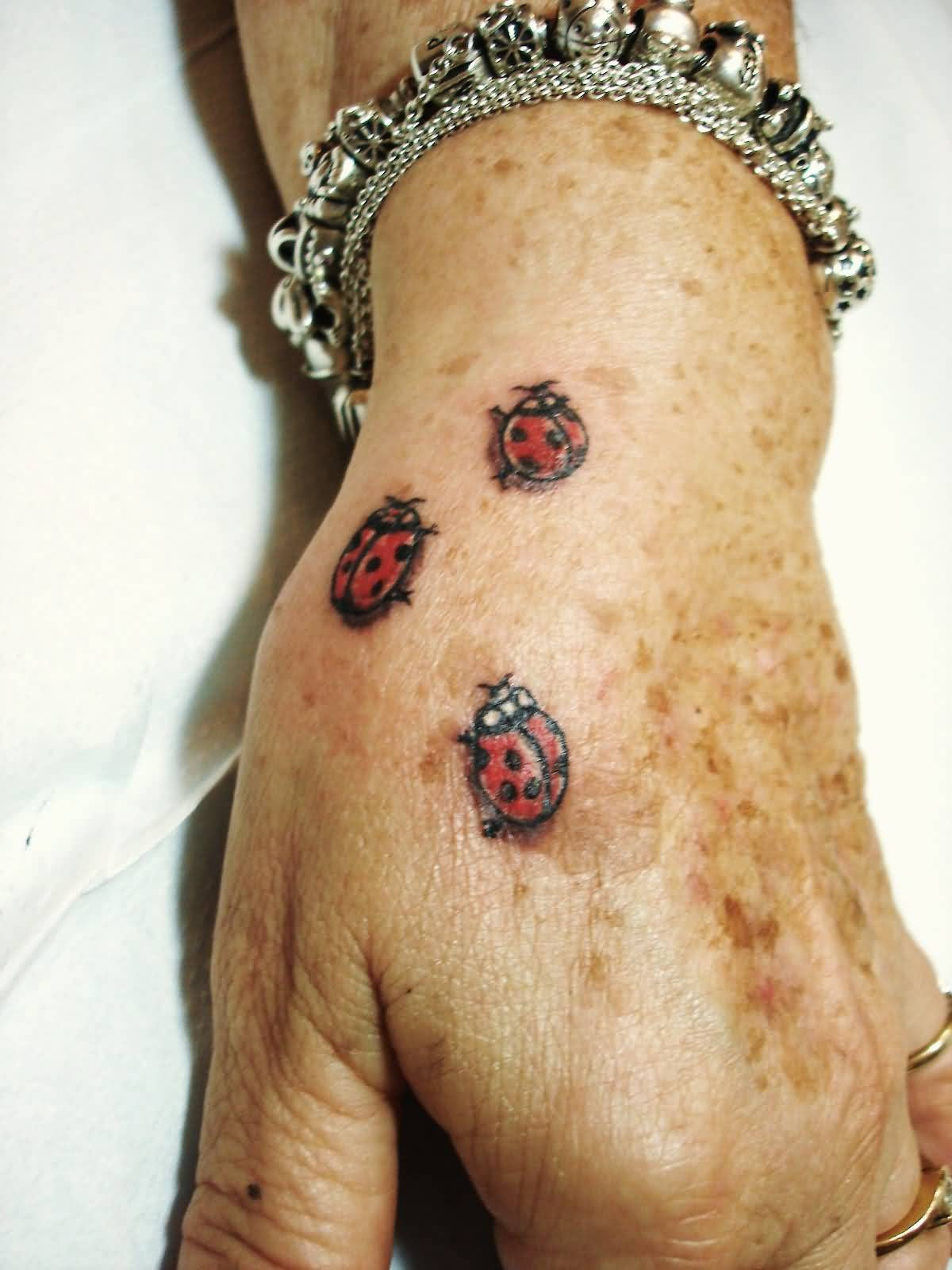 On Hand 3 Ladybug Cute Tattoo