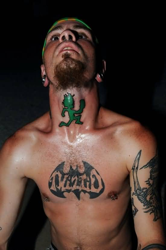 On Neck Green Icp Tattoo Design
