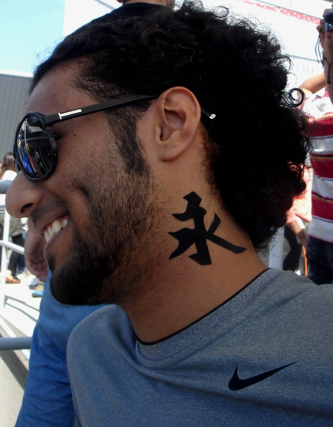 On Neck Kanji Tattoo Design
