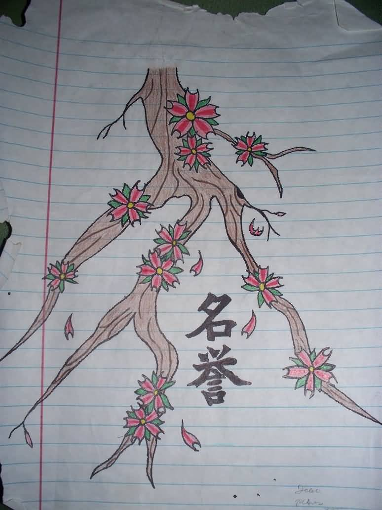 On Page Beautiful Kanji Tattoo Design