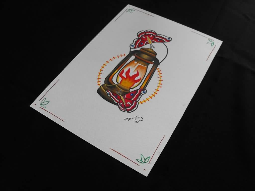 On Paper Best Oil Lamp Tattoo Design