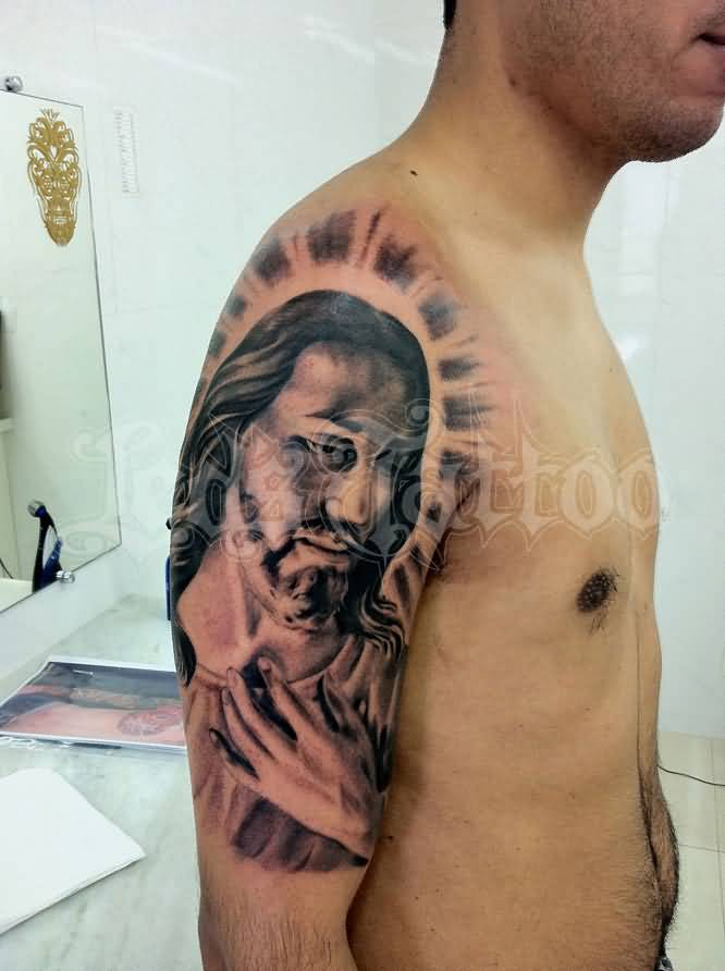 Fabulous jesus tattoo design on left arm for Jesus tattoos on arm