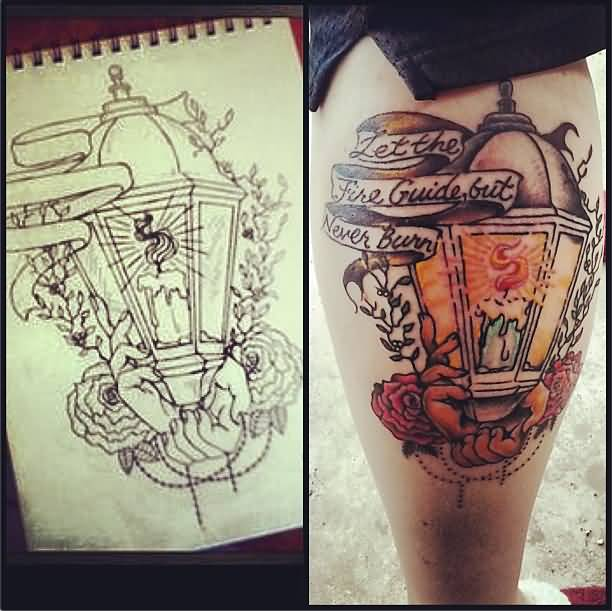 Paper Cover Candle Lamp Tattoo Design On Calf