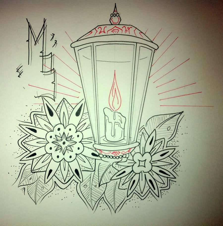 Pencil Draw Outline Candle Tattoo Design Superb