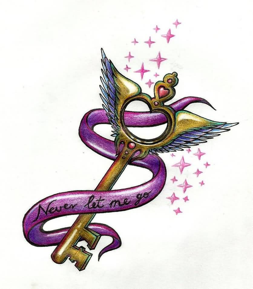 Pink Ribbon Love Key Tattoo Design