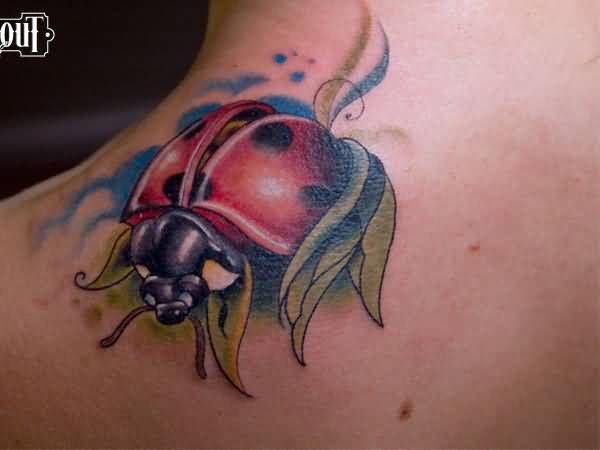 Popular Ladybug Tattoo On Shoulder