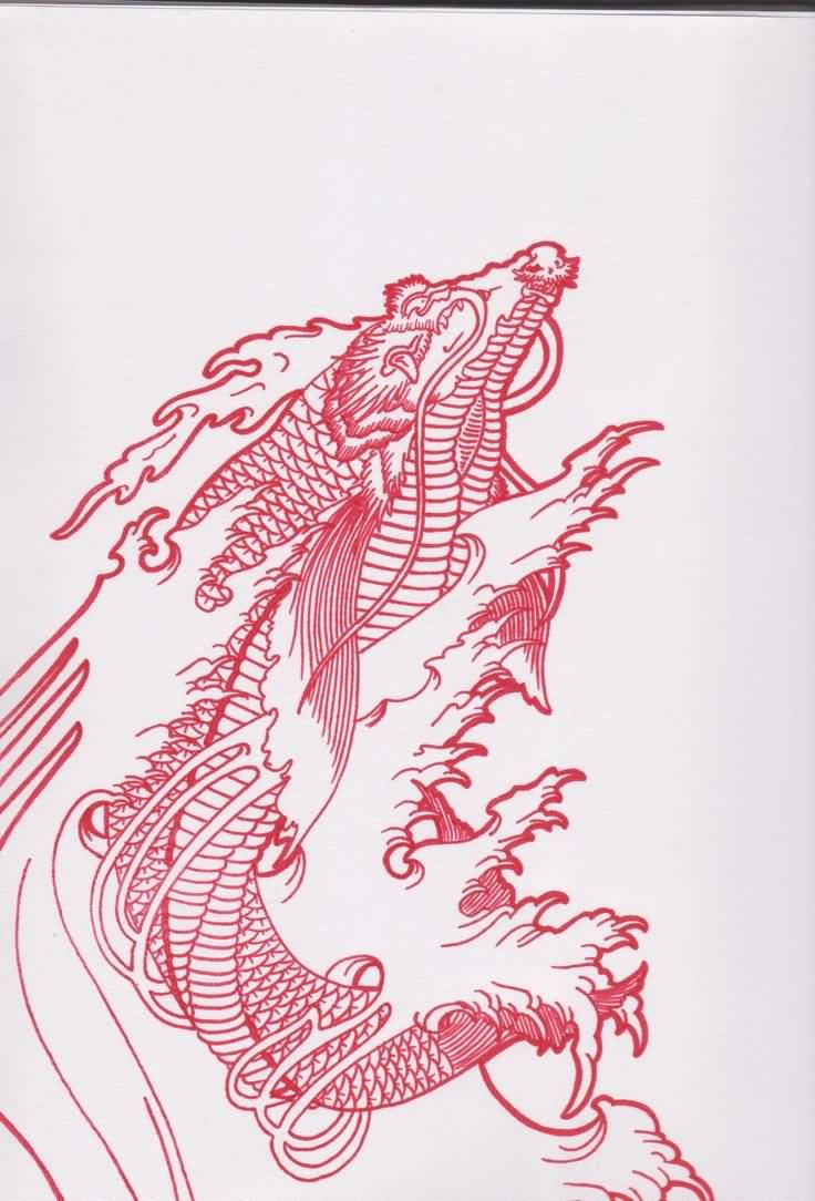 Red Ink Awesome Koi Fish Dragon Tattoo Design ...