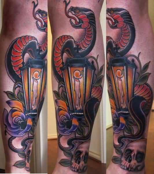 Snake Candle Lamp Tattoo On Calf