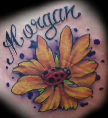 Sunfloer On Ladybug Cute Tattoo