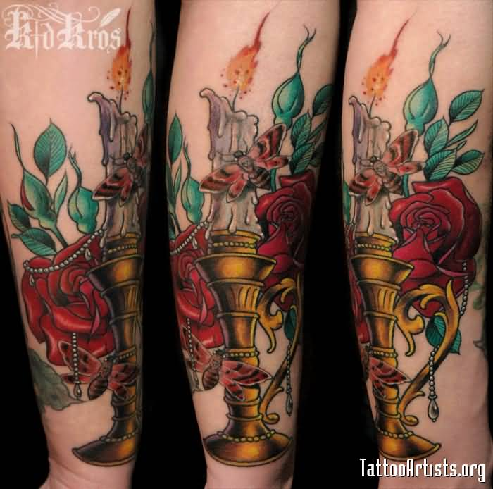 Superb Candle Tattoo With Red Roses Fantastic