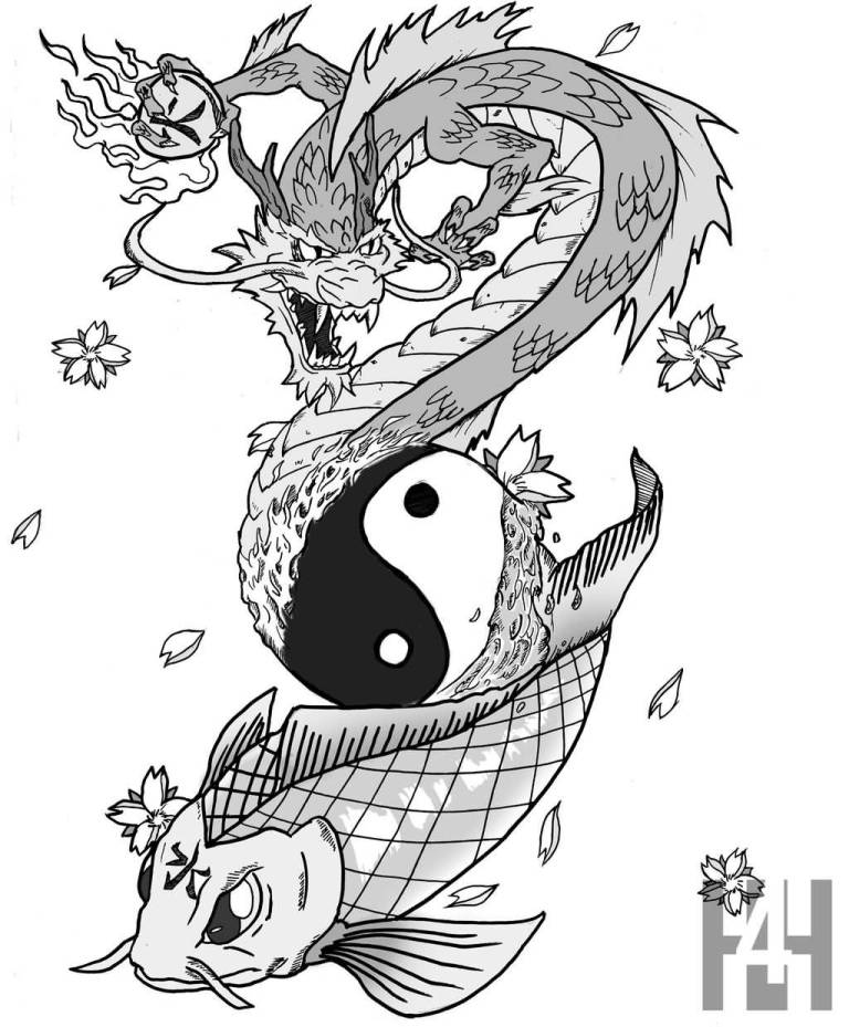 Koi tattoo ideas and koi tattoo designs page 27 for Black dragon koi