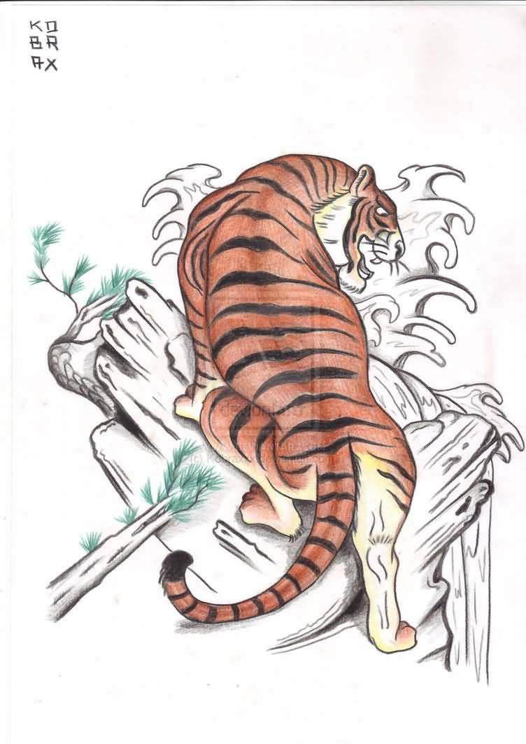 Tiger Sketch Beautiful Japanese Tattoo Design ...