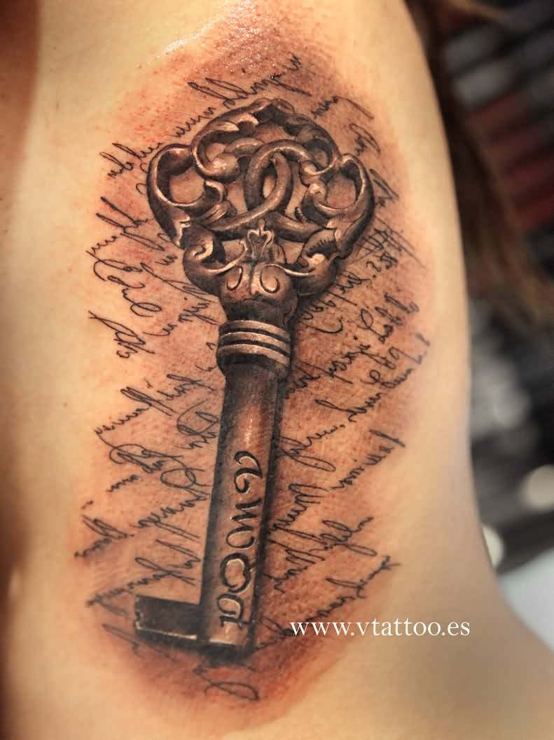 Traditional Key Tattoo Design On Ribs