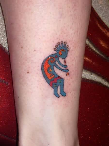 Traditional Kokopelli Tattoo On Ankle