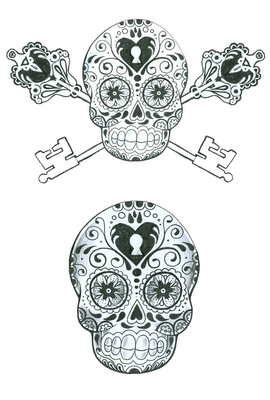 Traditional Skull Lock Key Tattoo Design