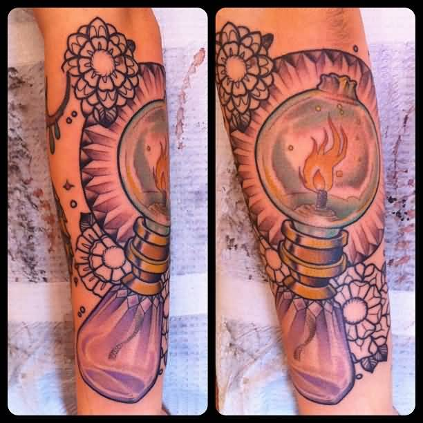Tradtional Oil Lamp Tattoo On Forearm