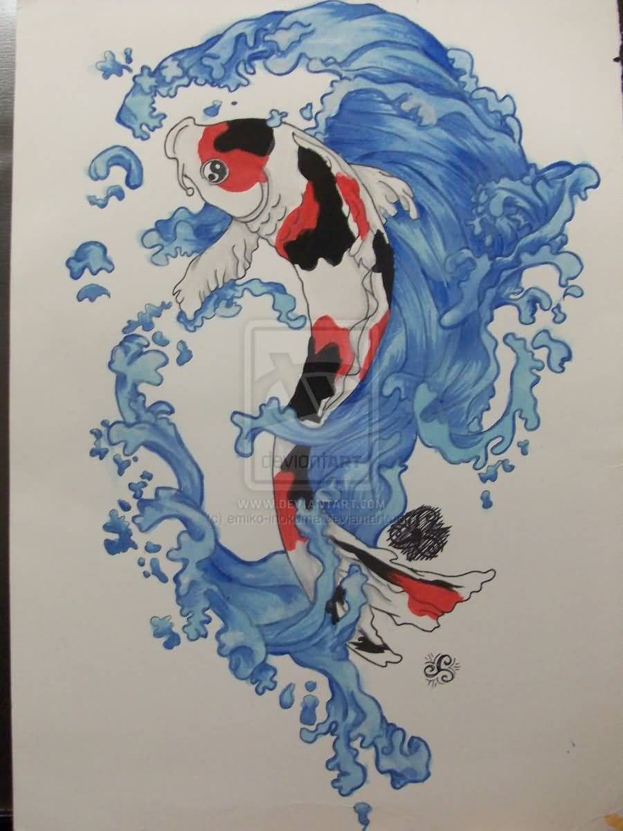 Water Color Use Awesome Koi Fish Tattoo Design